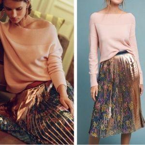 Anthropologie Printed &Pleated Metallic Midi Skirt